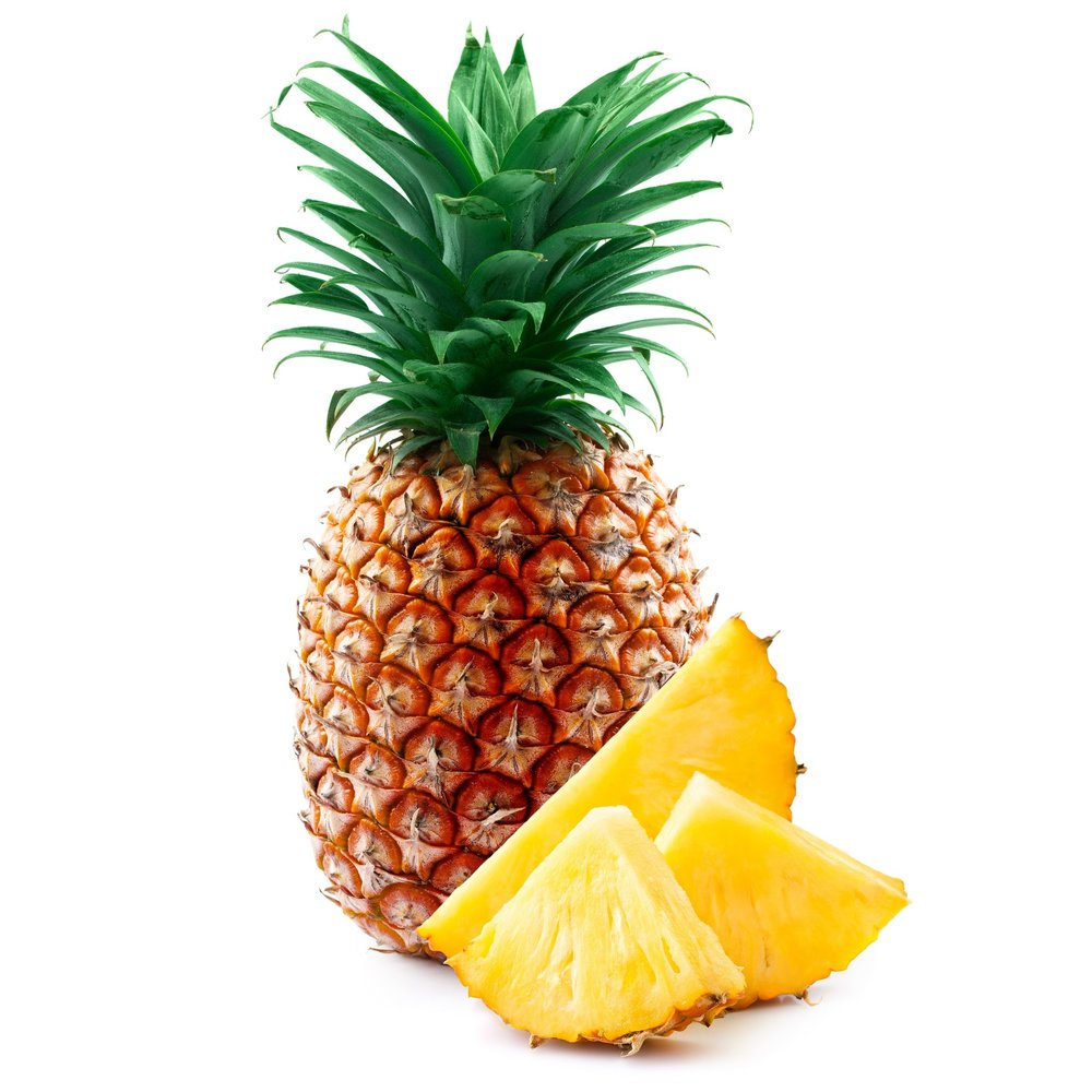 19695010 – pineapple with slices isolated on white